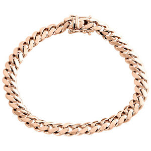 Mens Real 10K Rose Gold 8mm Solid Miami Cuban Link Fancy Bracelet Box Clasp 9""