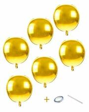 Aule Gold Orbz Balloon Decorations - Pack of 6, Jumbo 22 Inch 4D Metallic Gold