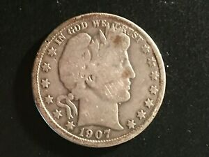 1907-D Barber Half Dollar - Good Circulated Condition