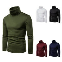 UKStock Fashion Mens  Roll Turtle Neck Pullover Knitted Jumper Tops Sweater