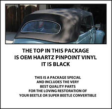 1973-1979 VW BEETLE CONVERTIBLE TOP PACKAGE: TOP, WOOD BOW, CABLES, MORE