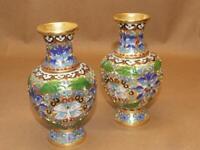 """2 Vintage Chinese Gold Gilt Blue Cloisonne Enamel Orchid Flower Vase Set 6.25"""""""