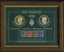 More details for framed king edward viii abdication crown coin stamp collection display gift set