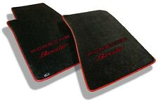 NEW! 1997-2004 BLACK Floor Mats PORSCHE W/ RED EMBROIDERED BOXSTER LOGO Binding