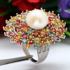 NATURAL 11 mm. WHITE PEARL & FANCY CLR SAPPHIRE RING 925 STERLING SILVER