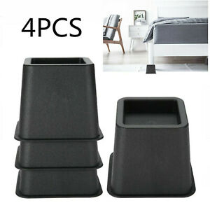 4Pcs Heavy Duty Bed Chair Risers Feet Leg Lift Furniture Extra Raisers Stand New