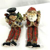 Christmas Collection Santa & Snowman Votive Candle Holder Shelf Sitter Ceramic