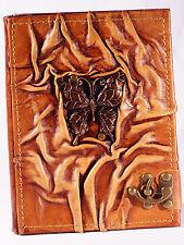Notizbuch Leder Schmetterling Tagebuch mit Verschluß Lederbuch Gästebuch Diary