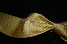 Valentino Made in Italy Thick Woven Satin Lemon Yellow Floret Mosaic Silk Tie NR