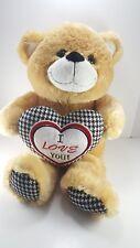 "Valentine Tan Teddy Bear Black White Checkered Heart Plush Stuffed Large 22"""