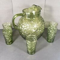 Vintage Anchor Hocking Lido Milano Avocado Green Glass Ball Pitcher 5 Glasses