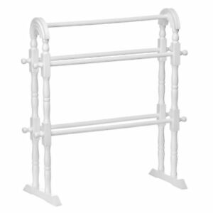 WOODEN TOWEL CLOTHES STAND RAIL RACK DRYER HOLDER WHITE NATURAL SET OF 2