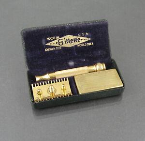 Vintage 1921-1928 Gillette Gold Plated Shawmut Safety Razor Set
