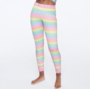 Vs Victorias Secret Pink Cozy Jersey Sleep Pant Tight Leggings Pajama Rainbow XL