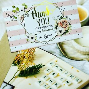 15PCS Thank You Card Thank You For Supporting My Small Business Card FloralGold