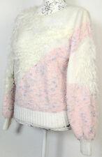 pull tricoté vintage fait à la main blanc rose paillettes franges laine 80