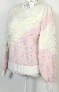 Pullover Strick Pulli Vintage Handarbeit Weiß Rosa Glitzer Fransen Wolle 80 90er