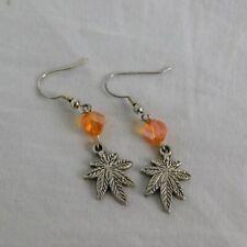Handmade Earrings Orange Bead Silver Toned Marijuana Leaf Pot Smoking Fashion