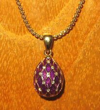 Russian FABERGE inspired PURPLE ENAMEL Swarovsky Crystals EGG pendant gold chain