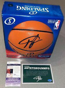 Giannis Antetokounmpo & Kristaps Porzingis Signed NBA Basketball JSA,STEINER COA