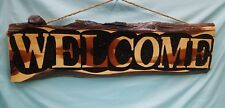 "RUSTIC WOOD RED CEDAR WELCOME SIGN 8 1/2"" × 31 1/2"" × 1""   BRAND.  *NEW*"