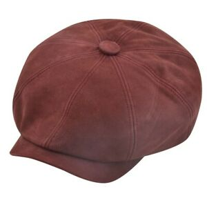 Newsboy Cap 100% Sheepskin Leather Baker Boy Cap Vintage Cap 8 Panel Leather Cap