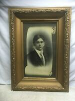 Vtg Antique Victorian Wood Chalk Flower Frame picture Gentleman PORTRAIT