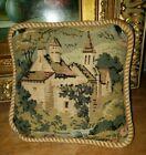 Vintage tapestry velvet small pillow church scene Victorian decor antique accent