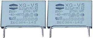 10 MKP X2 Kondensatoren 0,15µF 250Volt ~  RM 22,5mm