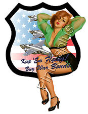 Pinup Girl Waterslide Decal Sticker WWII Buy War Bonds Propaganda S695