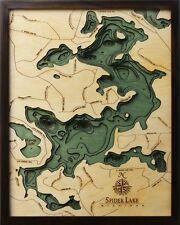 "SPIDER LAKE, MI 16"" x 20"" New, Laser-Cut 3-Dimen Wood Chart / Lake Art Map"