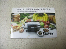 BREVILLE SNACK n SANDWICH TOASTER instructions  recipes