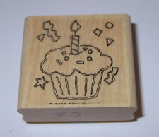 Cupcake Candle Rubber Stamp Birthday Party Stampin' Up! Confetti Sprinkles