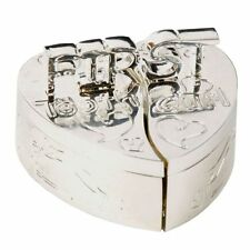 Silver Plated Heart First Tooth & Curl Christening Gift Keepsake Set Baby