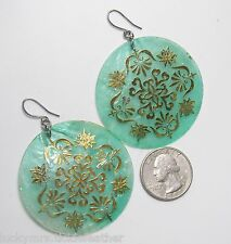 Large Thin Green Disk Hook Earrings, Shell/Acrylic Dangle Ornate Gold Design  2""