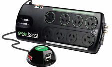 Thor B12R 8-Way Power Strip Board Surge Protector - Green