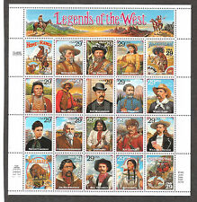 2870 Recalled Legends of The West Sheet XF+ Mint NH