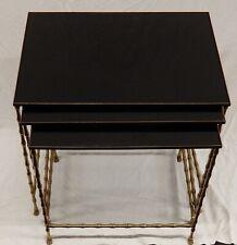 1970' Série de Tables Gigognes, 3 Plateaux Opaline Piètement Bambou DLG Bagués