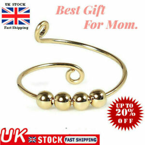 Anxiety Worry Fidget Ball Silver Ring Meditation Spinner Ring Adjustable Gift UK