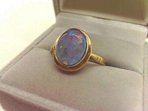 9ct Gold Natural Australian Opal Triplet Ring.