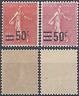 FRANCE TIMBRE TYPE SEMEUSE N°221 + N°224 NEUF ** LUXE MNH