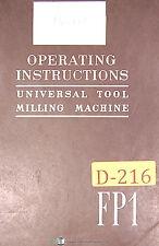 Deckel FP1, Universal Tool Milling & Boring Machine, Instructions Manual