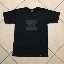 HUF LOGO CHECKERED T SHIRT BLACK SIZE SMALL NEW WITH TAGS
