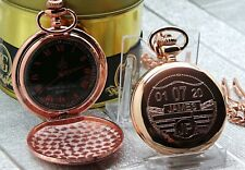 PERSONALISED TAX DISC Pocket Watch Custom Engraved Rose Gold Classic Vintage Car