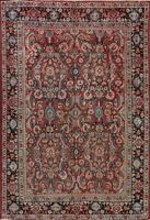 Antique Geometric All-Over Mahal Sultanabad Area Rug Hand-Knotted Red Wool 7x10