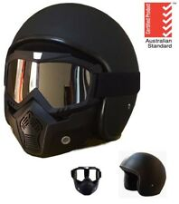 OPEN FACE HELMET AS1698 MOTORCYCLE MOTORBIKE ADULT HARLEY CRUISER SCOOTER + MASK