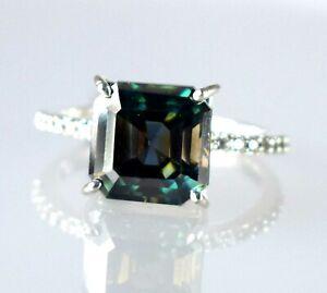 AAA Grade 5.84 Ct Green Diamond Solitaire Earthmined Women's Charm Ring