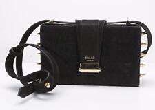 SALAR Womens LOU Black & Ponyhair Gold Spikes Studs Box Crossbody Bag / Clutch