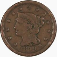 1849 1c Braided Hair Large Cent Penny Coin Genuine