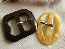 duo petites boucles de ceintures vintage jaune nacré et marron